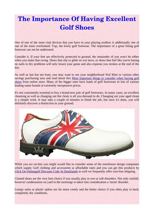 The Importance Of Having Excellent Golf Shoes