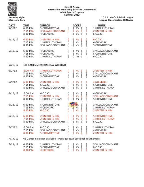 Softball Schedule Summer 2012