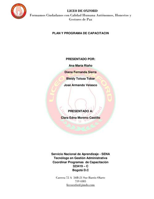 PLAN Y PROGRAMA DE CAPACITACION