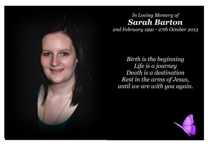 Sarah Barton Memorial Card