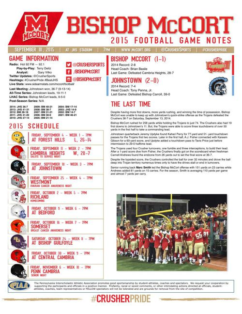 Week 3 Game Notes at Johnstown