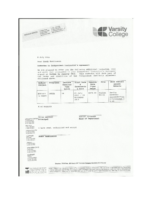 Portfolio of Evidence - Sandy Ramkissoon  -Varsity College  2011