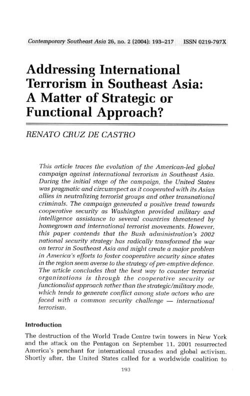 Terrorism in Southeast Asia Renato Castro