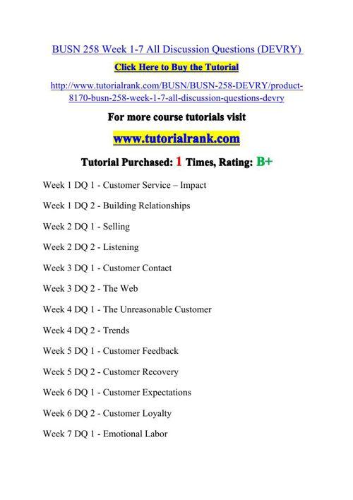 BUSN 258 Potential Instructors / tutorialrank.com