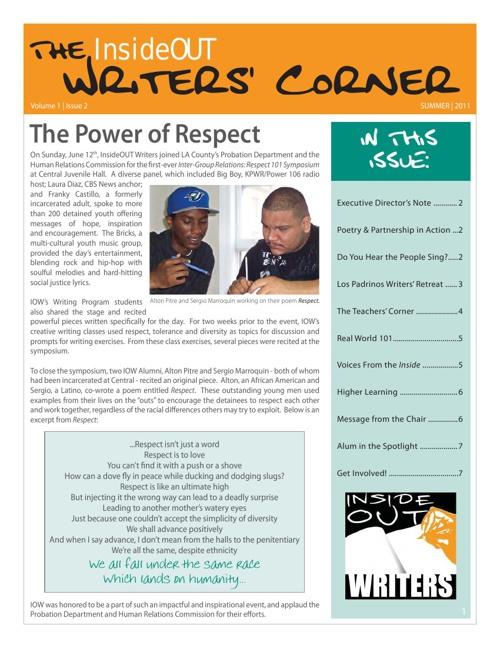 Writers Corner Vol1 Iss 2 Summer 2011