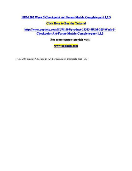 HUM 205 Week 5 Checkpoint Art Forms Matrix Complete part 1,2,3