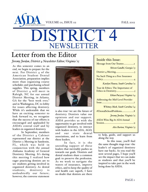 District 4 Newsletter, Fall 2012