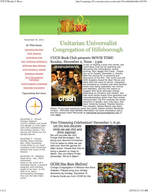 30 November 2012 UUCH eNews