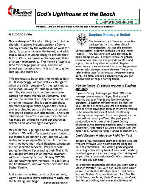 Bethel UMC May 2016 Newsletter