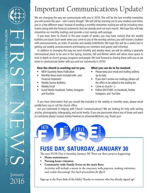 January Newsletter from JCFUMC