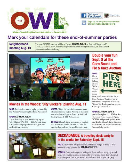 Wallace Woods August Newsletter
