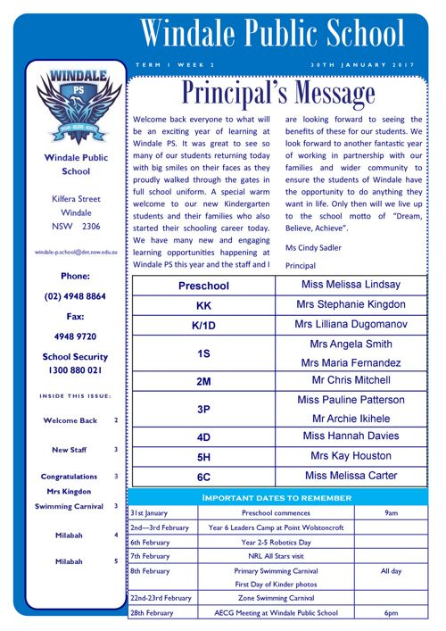Newsletter Term 1 Week 2