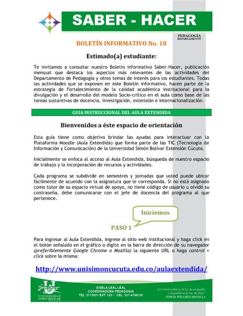 Boletín 18 Pedagogía Estudiantes