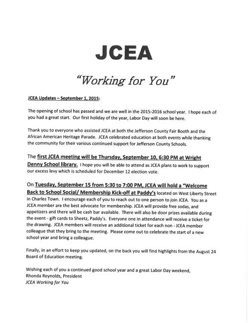 Copy of JCEA Updates