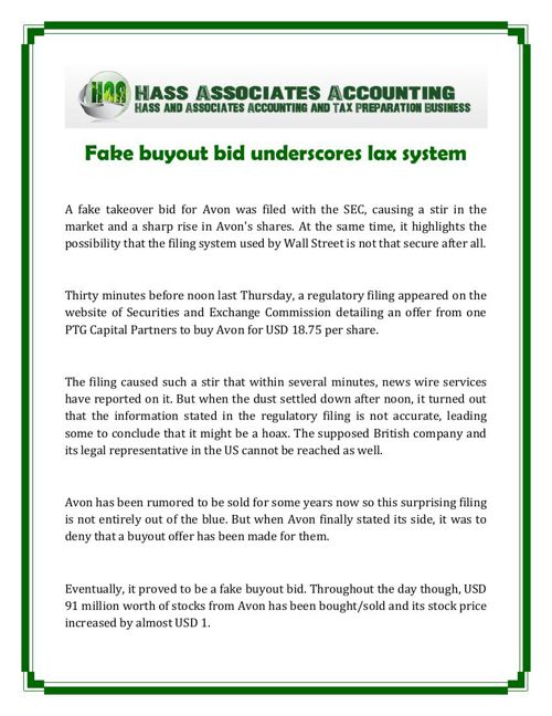 Hass and Associates Accounting: Fake buyout bid underscores lax