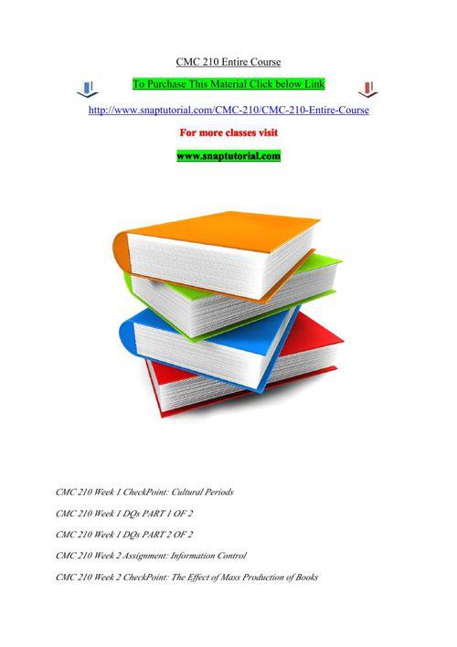 CMC 210 Entire Course