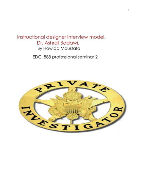 Instructional designer interview model  with refelection