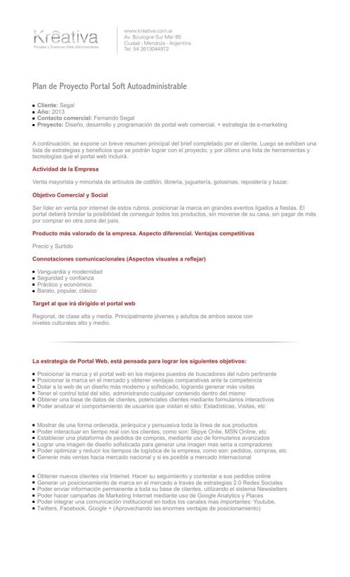 Plan de Proyecto - SEGAL Portal Administrable