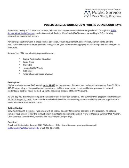 Summer Public Service Work Study 101