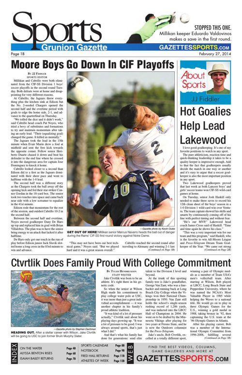 Gazette Sports   February 27, 2014