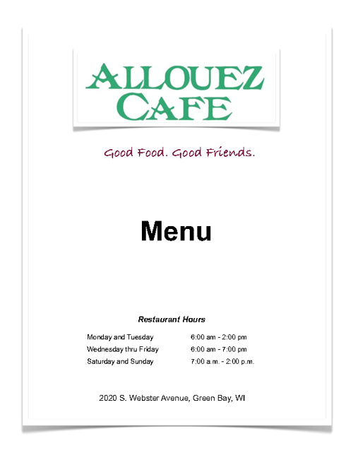 Allouez Cafe Menu