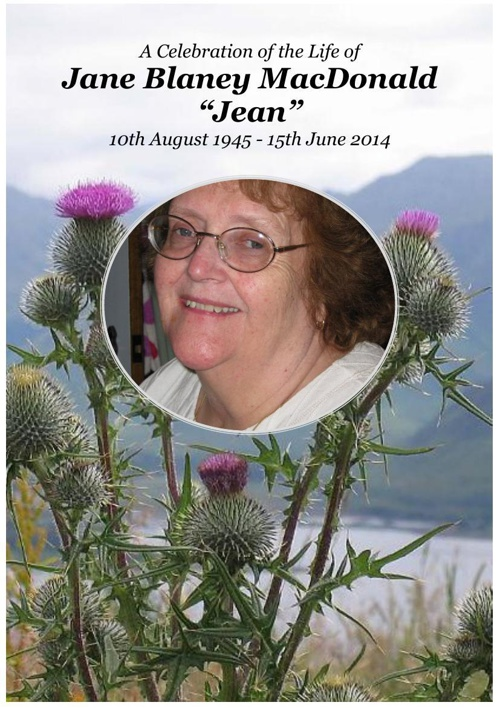 4 Order of Service for Jean MacDonald