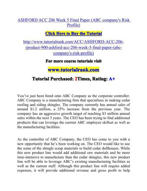 ASHFORD ACC 206 Week 5 Final Paper (ABC company's Risk Profile)