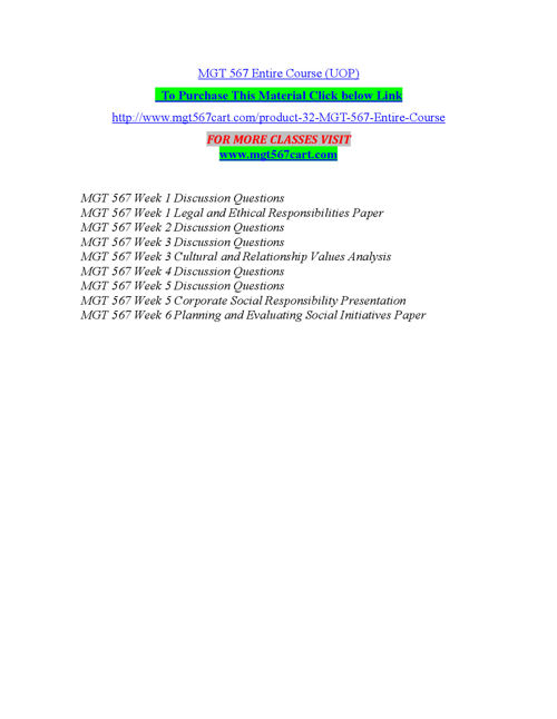 MGT 567 Entire Course (UOP)
