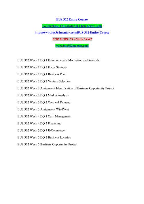 BUS 362 MENTOR Real Success / bus362mentor.com