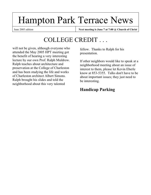 HPT Newsletter June 2005