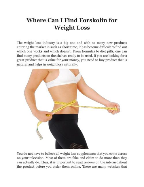 Where Can I Find Forskolin for Weight Loss