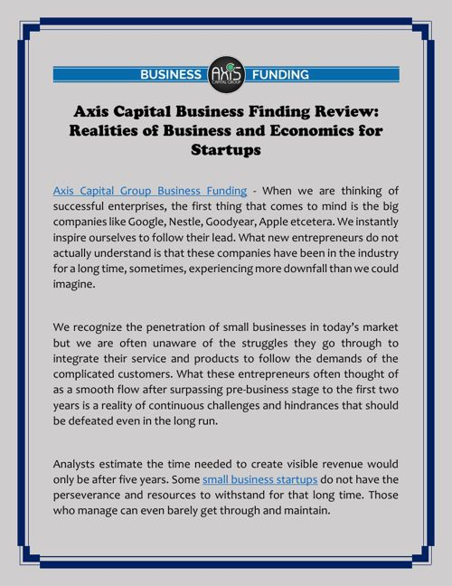 Axis Capital Business Finding Review: Realities of Business and