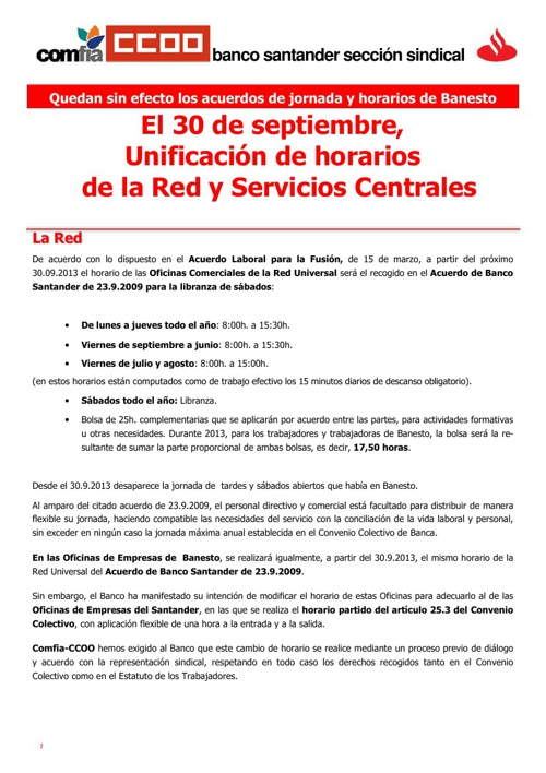 Unificación de Horarios en el Banco Santander