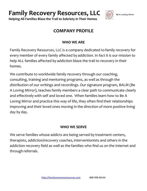 Family Recovery Resources (Lisa Costa)