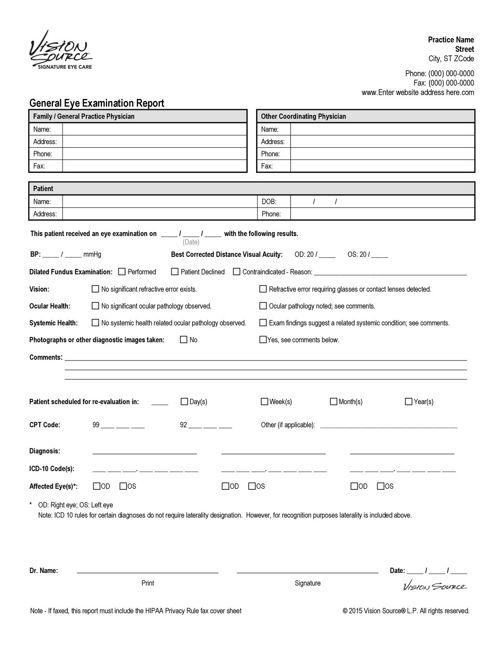 General Eye Examination Report - Electronic Version