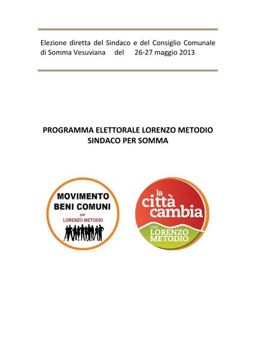 Programma elettorale Lorenzo Metodio sindaco per Somma