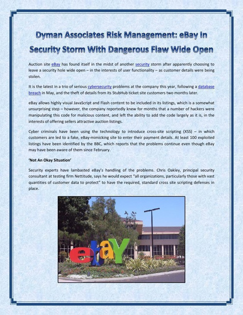 Dyman Associates Risk Management - eBay In Security Storm With D