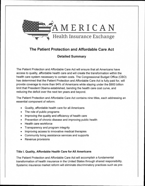 ppaca summary essay Uni essay help the patient protection and affordable care act (ppaca) dq1 the patient protection and affordable care act (ppaca) was passed into legislation in.