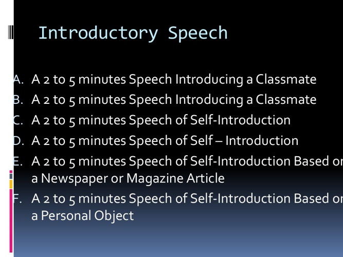 Introductory Speech Topics
