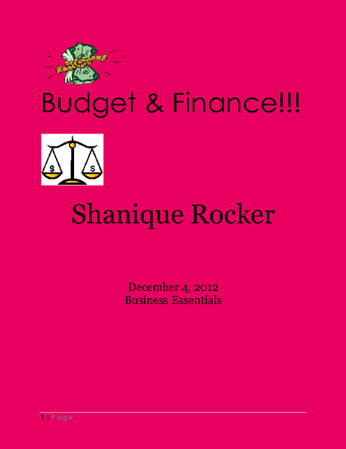 Shanique Rocker Budget and Finance