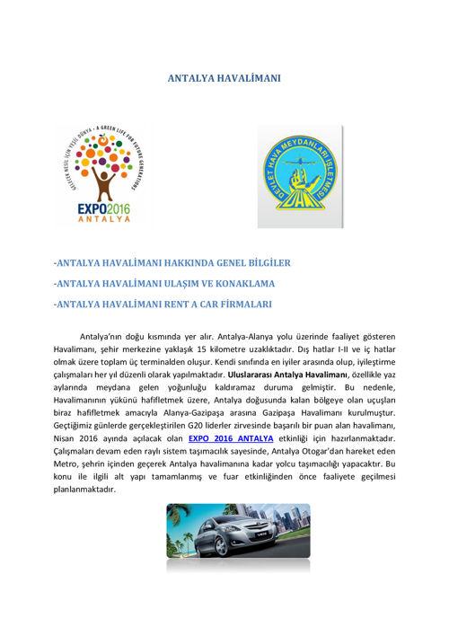 ANTALYA Havalimanı Rent A Car Firmaları