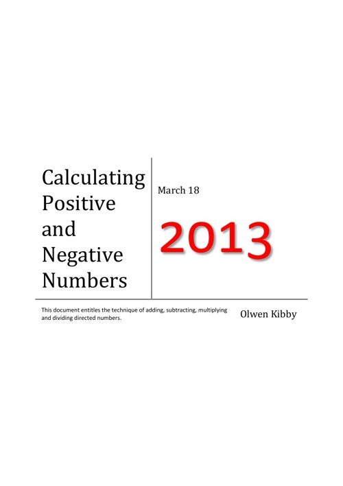 Calculating Positive and Negative Numbers