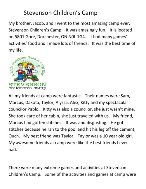 Stevenson Childrens Camp