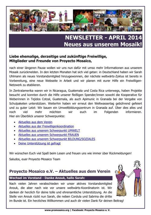 Newsletter April 2014 - Neues aus unserem Mosaik!