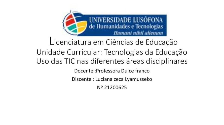 Licenciatura em Ciências de Educação