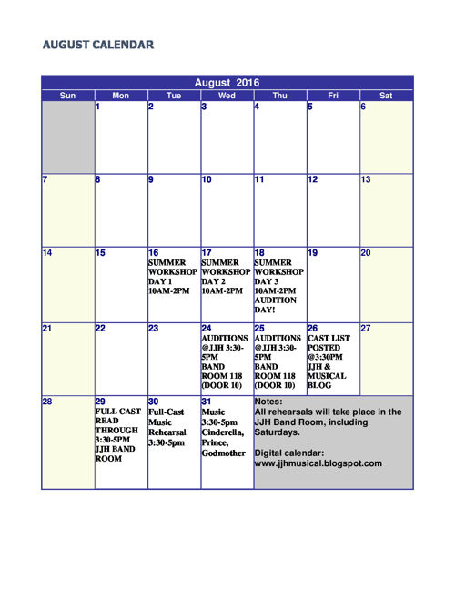 Final Cinderella Calendar!