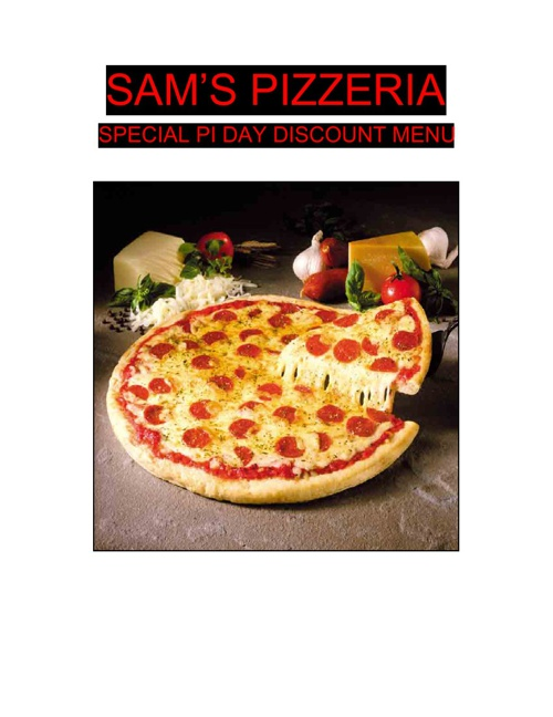 Sam's Pizzeria- Special Pi Day Discount Menu