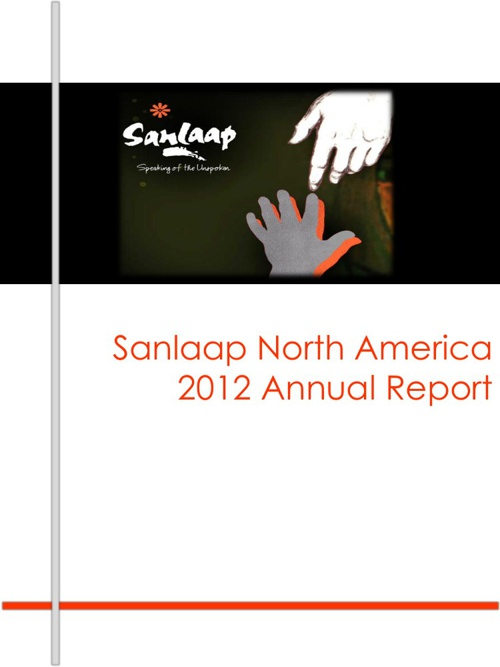 Sanlaap North America 2012 Annual Report