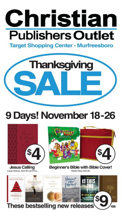 Christian Publishers Outlet 9-Day Thanksgiving Sale