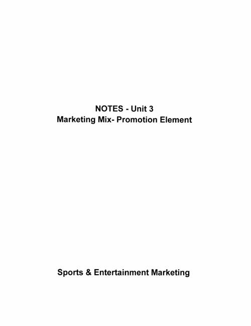 Unit 2 - Promotion